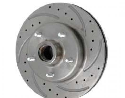 Chevy Front Disc Brake Rotor, Drilled, Slotted & Vented, For Dropped Spindles, Right, 1955-1957