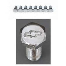 Chevy Bowtie Valve Cover Bolt Set, Chrome, With Steel Valve Covers, Small Block, 1955-1957