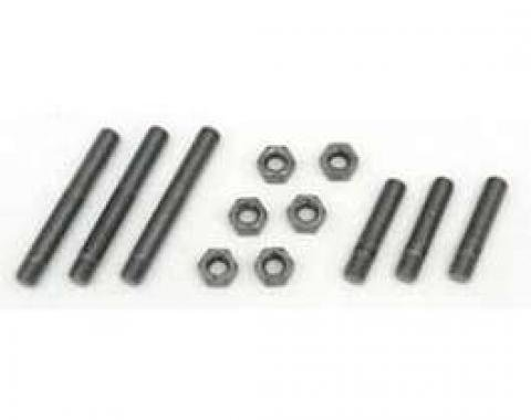 Chevy Exhaust Manifold Stud & Nut Set, Stainless Steel, 1957