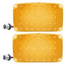Chevy LED Parking Lights, Front, Plug-In, With Amber Lenses, 1956