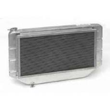 Chevy Cross-Flow Radiator Kit, With Mechanical Fan Shroud, Aluminum, Griffin, 1955-1957