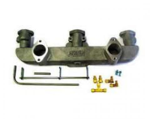 Chevy Fenton Intake Manifold, Aluminum, Dual Carb, 6-Cylinder, Ceramic Coated, 1955-1957