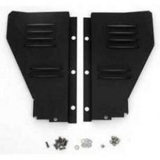 Chevy Radiator Filler Panels, Louvered, Carbon Steel, For CCI Tubular Core Support, 1956