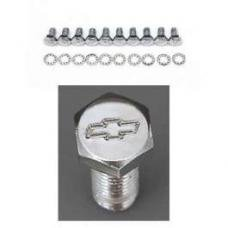 Chevy Bowtie Timing Chain Cover Bolt Set, Small Block, Chrome, 1955-1957