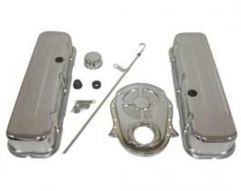 Chevy Big Block Chrome Engine Dress Up Kit With Short Smooth Style Valve Covers