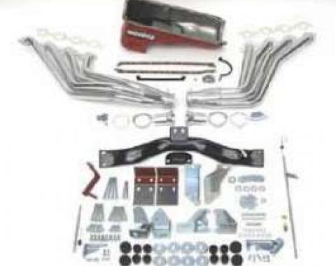Chevy Big Block Mark V & VI Installation Kit, Deluxe, TH350, 700R4 Automatic Transmission, With Silver Ceramic Coated Headers, 1955-1957