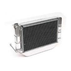 Chevy Cross-Flow Radiator Kit, Polished Aluminum, With Mechanical Fan Shroud, Complete, Griffin, 1955-1957