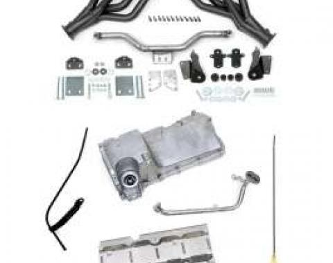 Chevy LS1, LS2, LS3 & LS6 Engine Installation Kit, With Black Painted Headers, Non-Convertible, 1955-1957