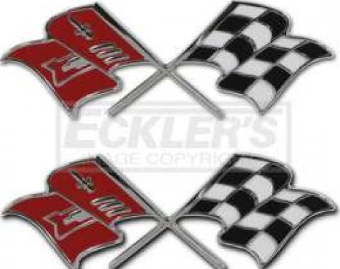 Chevy Fuel Injection Fender Emblems, Crossed-Flags, 1957