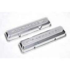 Chevy Aluminum Valve Covers, Polished, With Chevrolet Script, Small Block, 1955-1957