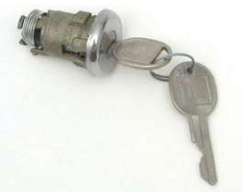 Chevy Trunk Lock Cylinder, With Late Style Keys, 1955-1957