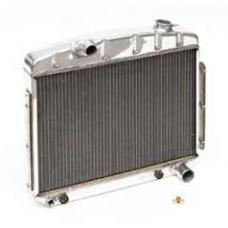 Chevy Radiator, Polished Aluminum, 6-Cylinder Position, Griffin Pro Series, 1957