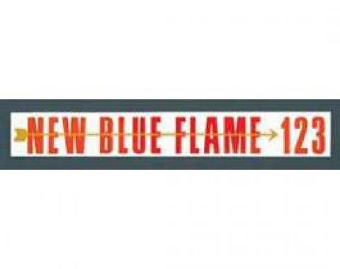 Chevy Valve Cover Decal, Blue Flame, 235ci, 123hp, 6-Cylinder, 1955