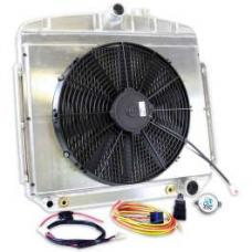 Chevy Radiator, Griffin Tri 5 Universal Fit, Bel Air, Aluminum, With Shroud/Fan, 1955-1957