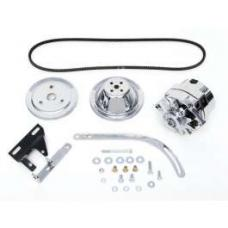 Chevy Alternator Conversion Kit, Small Block, Single Groove Pulleys, For Cars With Short Water Pump & Headers, 1955-1957