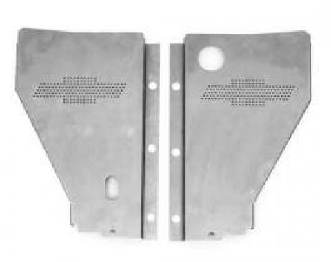 Chevy Radiator Filler Panels, For CCI Tubular Core & Cross-Flow Radiator, Carbon Steel, With Bowtie, 1956