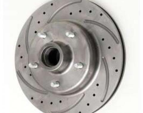 Chevy Front Disc Brake Rotor, Drilled, Slotted & Vented, For Dropped Spindles, Left, 1955-1957