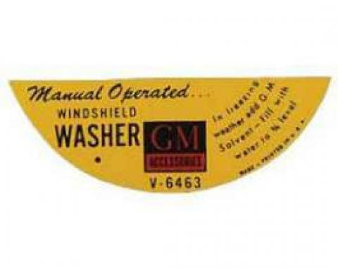 Chevy Windshield Washer Jar Decal, Manual, 1955-1957