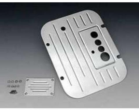 Chevy Firewall Plate, Bowtie Ribbed Billet Aluminum, With Vintage Air, 1957