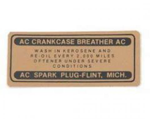 Chevy Oil Cap Breather Decal, 1955-1957