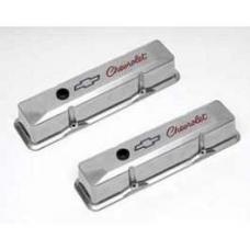 Chevy Valve Covers, Polished Aluminum, Tall, Small Block, With Chevrolet Bowtie Logo, 1955-1957