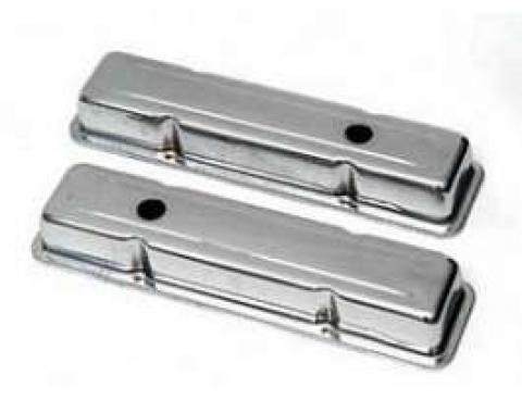 Chevy Valve Covers, Short, Small Block, Chrome, 1955-1957