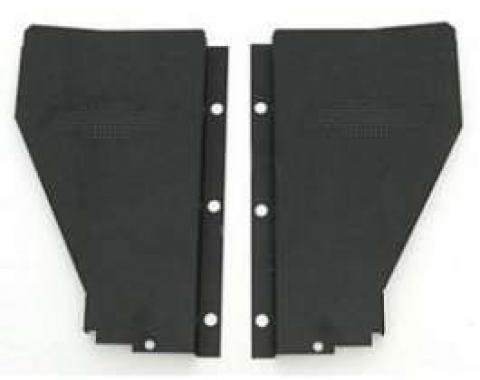 Chevy Radiator Filler Panels, Carbon Steel, With Bowtie, For CCI Tubular Core Support, 1956