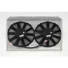 Chevy Polished Aluminum Fan Shroud, With Dual Fans, For Griffin Cross-Flow Radiator, 1955-1957