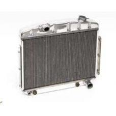 Chevy Radiator, Polished Aluminum, 6-Cylinder Position, Griffin HP Series, 1957