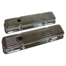 Chevy Small Block Chrome Valve Covers With 350 Logo, Short, 1955-1957