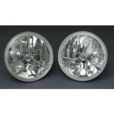 Chevy Headlights, Tri-Bar H-4 Halogen, Clear, 1955-1957