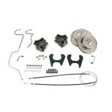 Chevy Rear Disc Brake Kit, With Drilled & Sweep Slotted Rotors, Original Rear End, 1955-1957