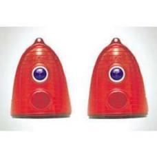 Chevy Taillight Lenses, With Special Blue Dots, Red, 1955