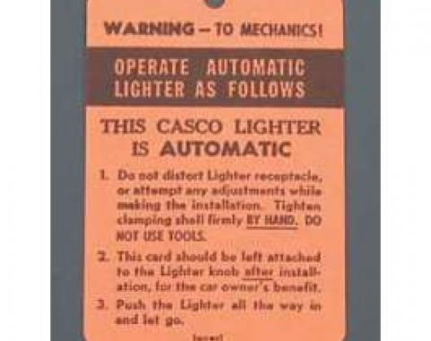 Chevy Cigarette Lighter Instruction Tag, 1955-1957