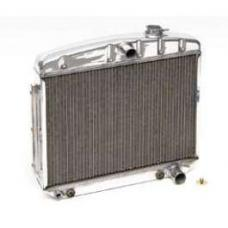 Chevy Radiator, Polished Aluminum, V8 Position, Griffin HP Series, 1955-1957