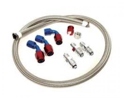 Chevy Power Steering Hose Kit, Stainless Steel Braided, For Use With CCI Rack & Pinion & Type II GM Pump, 1955-1957