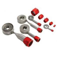 Chevy Hose Cover Kit, Stainless Steel, Universal, With Red Clamps 1955-1957