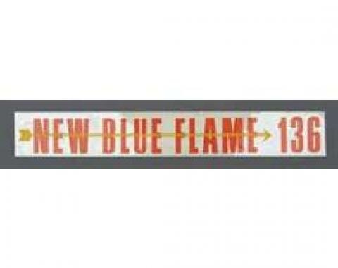 Chevy Valve Cover Decal, 6-Cylinder, Blue Flame 136, 1955