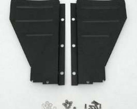 Chevy Radiator Filler Panels, Ribbed, Carbon Steel, For CCI Tubular Core Support, 1957