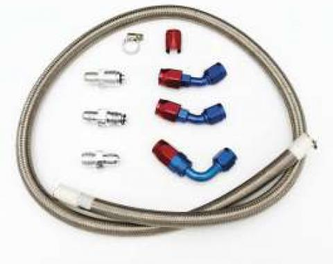 Chevy Power Steering Hose Kit, Stainless Steel Braided, CCI Rack & Pinion Steering, With Saginaw Pump, 1955-1957