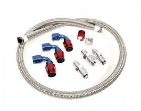 Chevy Power Steering Hose Kit, Stainless Steel Braided, For Use With Delphi Box & Type II GM Pump, 1955-1957