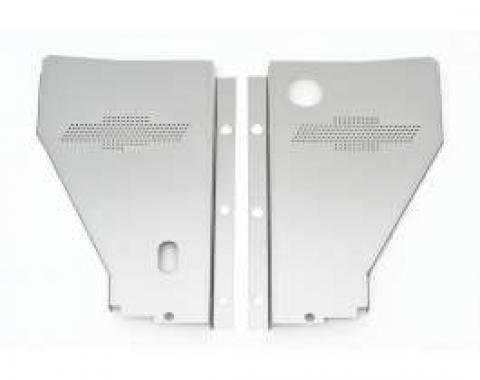 Chevy Radiator Filler Panels, For CCI Tubular Core Support & Cross-Flow Radiator, Stainless Steel, With Bowtie, 1956