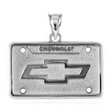 Chevrolet Silver License Plate Pendant, Bowtie Emblem