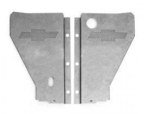 Chevy Radiator Filler Panels, For CCI Tubular Core & Cross-Flow Radiator, Carbon Steel, With Bowtie, 1957