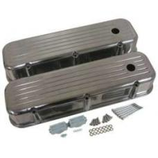 Chevy Big Block Valve Covers, Ball Milled Polished Aluminum, 1955-1957