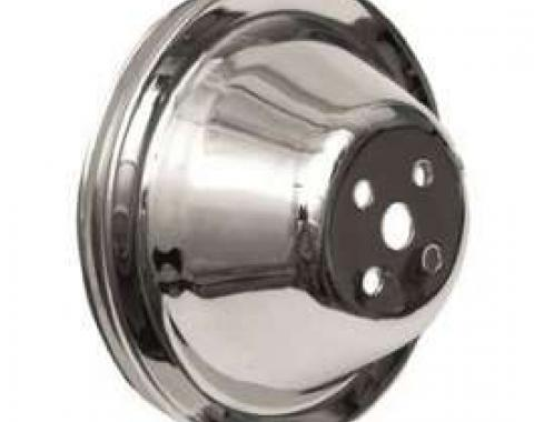 Chevy Water Pump Pulley, Single Groove, Chrome, Small Block, 1955-1957