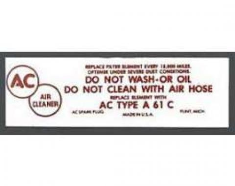 Chevy Air Cleaner Decal, Fuel Injection, 1957