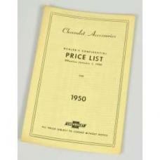 Chevy Price List Booklet, Accessory, New Car, 1950