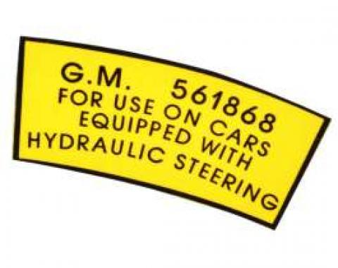 Chevy Power Steering Pulley Decal, 1953-1954