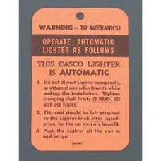 Chevy Casco Cigarette Lighter Instruction Tag, 1949-1954